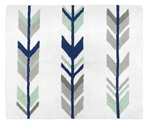 Arrow Rug (Sweet Jojo Designs Accent Floor Rug Bedroom Decor for Grey, Navy and Mint Woodland Arrow Kids Bedding Collection)