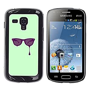 Be Good Phone Accessory // Dura Cáscara cubierta Protectora Caso Carcasa Funda de Protección para Samsung Galaxy S Duos S7562 // Glasses Paint Art Eyes Purple Painting Drawing