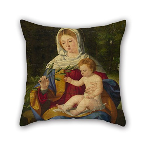 The Oil Painting Andrea Previtali - The Virgin And Child With A Shoot Of Olive Throw Pillow Case Of ,16 X 16 Inches / 40 By 40 Cm Decoration,gift For Dinning Room,bar,living Room,kid