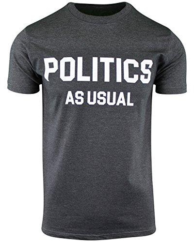 ShirtBANC Charcoal Heather Mens Politics As Usual Crew Neck Tee 2XL