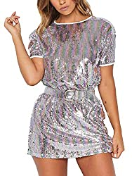 Rainbow Sequin Dress With Short Sleeves