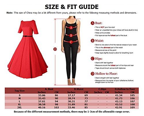 LaoZan Vestido plisado Elegante Vestidos Swing Rockabilly Vintage de mujer Manga corta Vestido de Coctel Negro