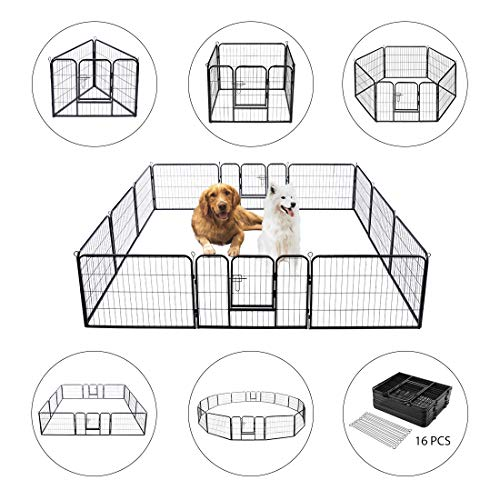 VIVOHOME Heavy Duty Foldable Metal Indoor Outdoor Exercise Pet Fence Barrier Playpen Kennel for Dogs Cats 16 Panels (Best Temporary Fence For Dogs)