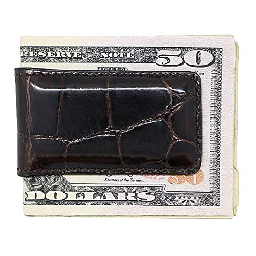 Brown Glazed Genuine Alligator Money Clip - Magnetic - American Factory Direct - Strong Shielded Magnets - Money Holder - Made in USA by Real Leather Creations FBA686