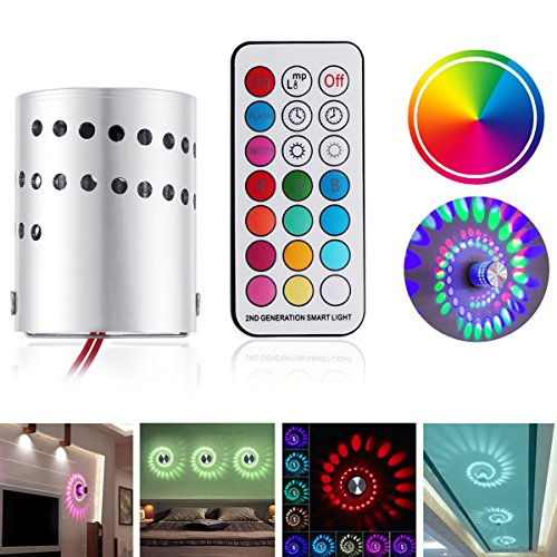 Led Spiral Wall lLight, Ourleeme RGB Colorful Spiral Hole Wall Lamp 3W Cylinder LED Light wiht Remote Control, Low Consumption No UV or IR Radiation CE/RoHS Certification