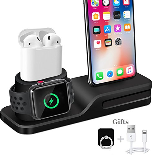 Apple Watch Stand, Wonsidary 3 in 1 Universal Silicone iWatch/iPhone/Airpods Holder Charging Docks Station for Apple Watch Series 3 2 1 AirPods iPhone X 8 8 Plus 7 6 iPad Mini by Wonsidary