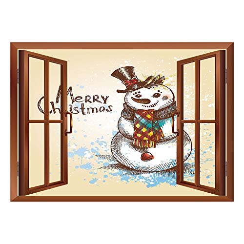 SCOCICI Wall Mural, Window Frame Mural/Snowman,Artistic Snowman with Winter Accessories Color Splashes Happy Xmas Sketchy Decorative,Cream Brown Blue/Wall Sticker Mural -