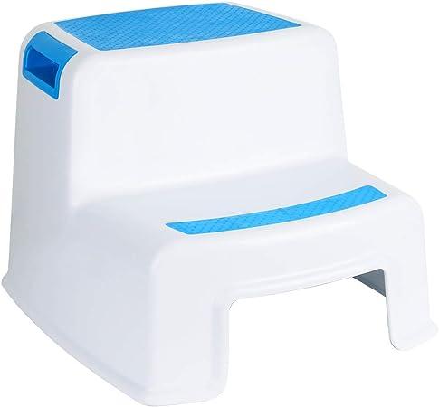 Funhoo - Taburete de Altura Doble para niños, 2 peldaños Antideslizantes para Inodoro o Entrenamiento/Lavado de Manos, Escalera para baño, Inodoro, Cocina, etc. (Azul y Blanco): Amazon.es: Hogar