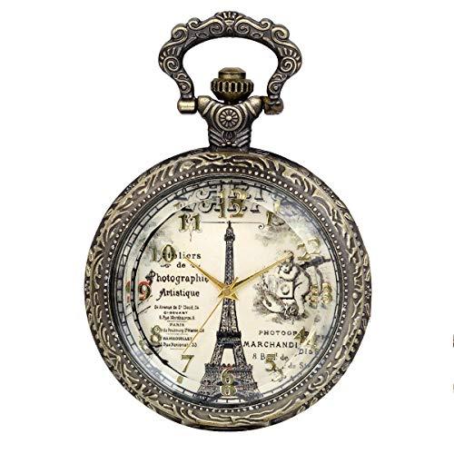 - JewelryWe Eiffel Tower Pocket Watch Retro Vintage Bronze Quartz Watch Necklace Pendant Birthday Gift