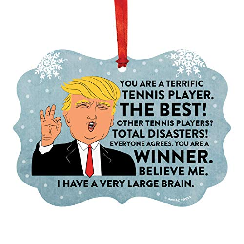 (Andaz Press President Donald Trump Fancy Frame Keepsake Christmas Ornament Gag Gift, Terrific Tennis Player, 1-Pack, Funny Metal Holiday Present Ideas Republican Political Satire for Family)