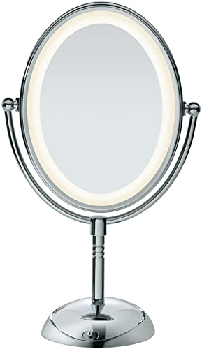 Conair Reflections LED Lighted Collection Double-Sided Makeup Mirror, 1x 7x magnification, Polished Chrome