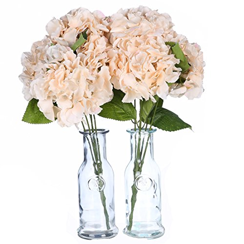 Veryhome 2pcs 5 Heads Artificial Hydrangea Flowers Silk Bouquet for Party Wedding Home Decor (champagne)