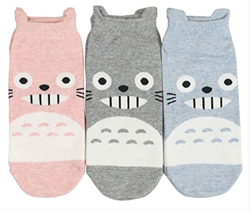 Every day 3 Pairs Set Women Cotton Character Socks My neighbor Totoro,One Size (Pink,Gray,Blue) (Badass Characters)