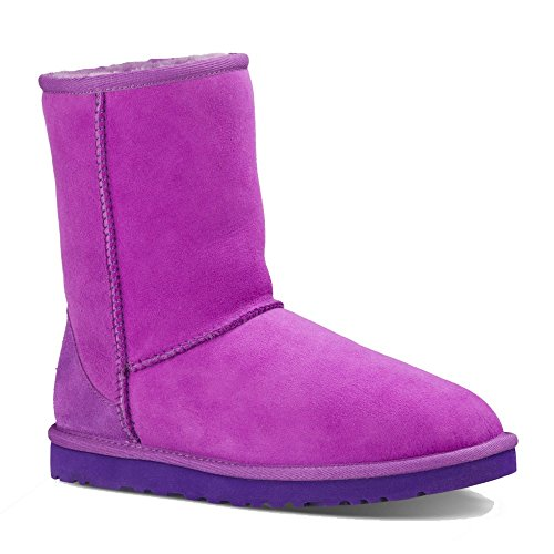UGG Australia Women's Classic Short Crazy Plum Twin Face Sheepskin  Boot - Medium / 7 B(M) - Fashion Face Australia