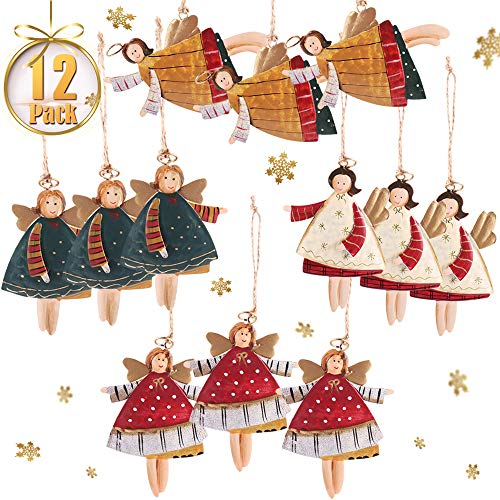 PartyBus Flying Tin Angels Christmas Tree Ornaments, Country Style Xmas Home Decorations, Rustic Keepsake Figurine Gift Tags for Family Coworkers Friends, 12 Pack