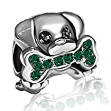 JMQJewelry Dog Paws Charms Green Bead for Bracelets Sister