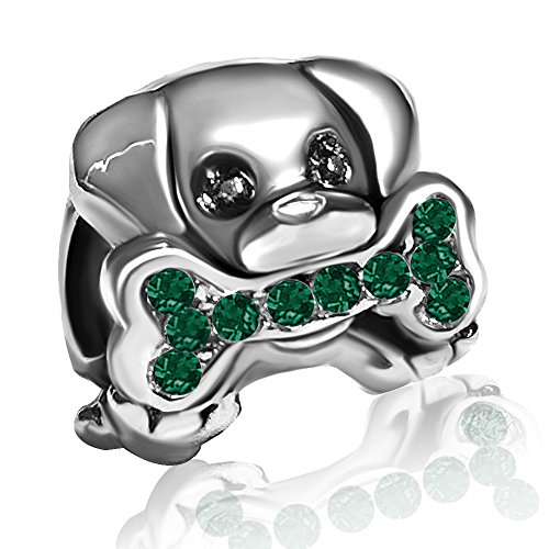 JMQJewelry Dog Paws Charms Green Bead for Bracelets Sister]()