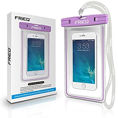 FRiEQ Universal Waterproof Case for Outdoor Activities Protects your Cell Phone or MP3 Player from Water, Sand, Dust and Dirt-IPX8 Certified to 100 Feet(Purple)