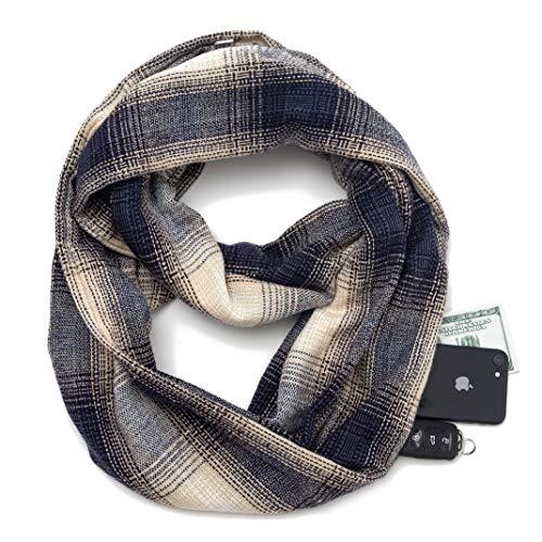 (Infinity Scarf w/Secret Hidden Zipper Pocket Travel Scarves women Plaid Tartan (Z1-Grey))