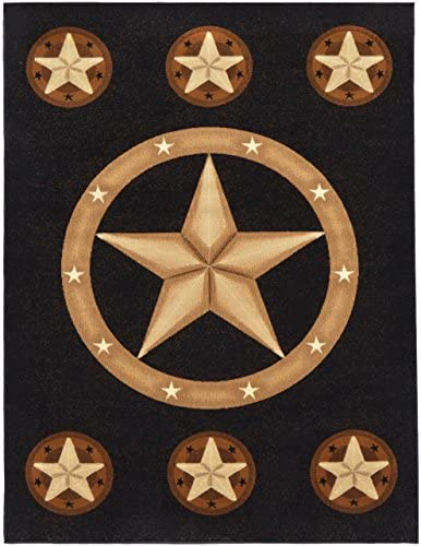 Rugs 4 Less Collection Texas Lone Star State Novelty Area Rug R4L 78 Black 5 2 x7 2