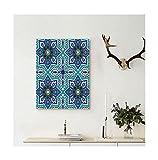 Liguo88 Custom canvas Arabian Decor Collection Arabesque Pattern Traditional Islamic Art Geometric Decorative Persian Damask Art Wall Hanging Cobalt Blue Teal