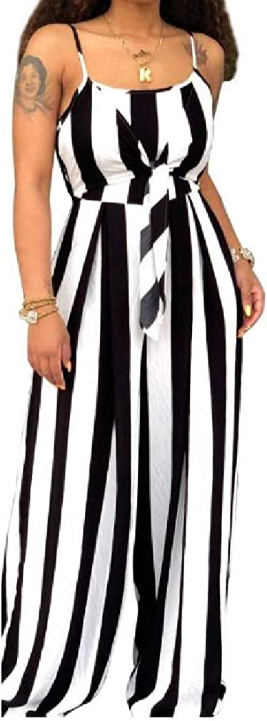 Winwinus Womens Nightclub Lace-up Striped Sling Palazzo Trousers Jumpsuit Trousers