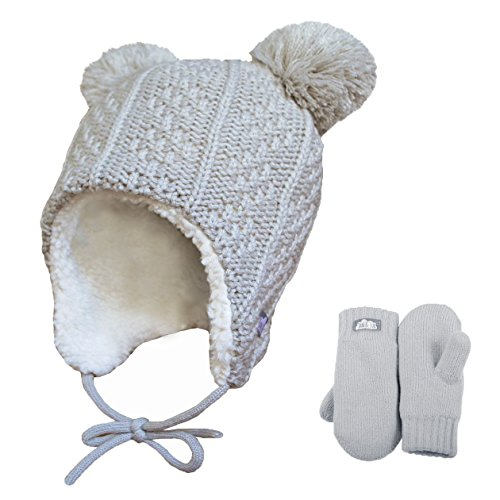 Toddler kids warm fall WINTER HAT & Mitten fleece lined unisex (M: 6-24 Months, Hat & Mitten Set: Grey bear)