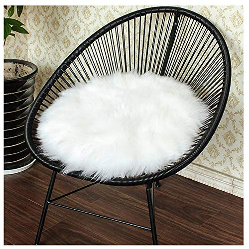 Junovo Premium Soft Round Faux Fur Sheepskin Seat Cushion Chair Cover Plush Area Rugs for Bedroom,14