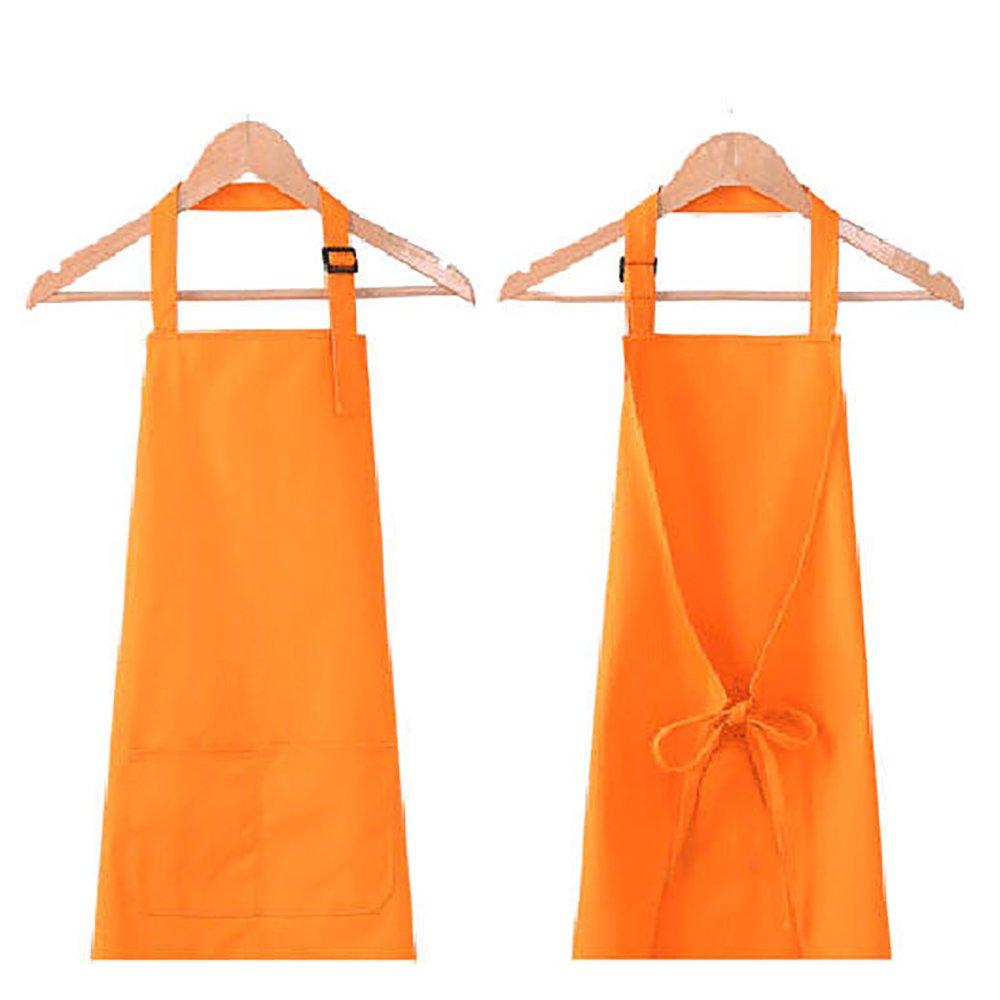 Novo Polyester-Cotton Kitchen Chef's Home Apron Adjustable Neck Strap & Waist Ties, Orange for Cooking, Baking, Gardening, Crafting, BBQ,Working,Harvest,Coffee Shop