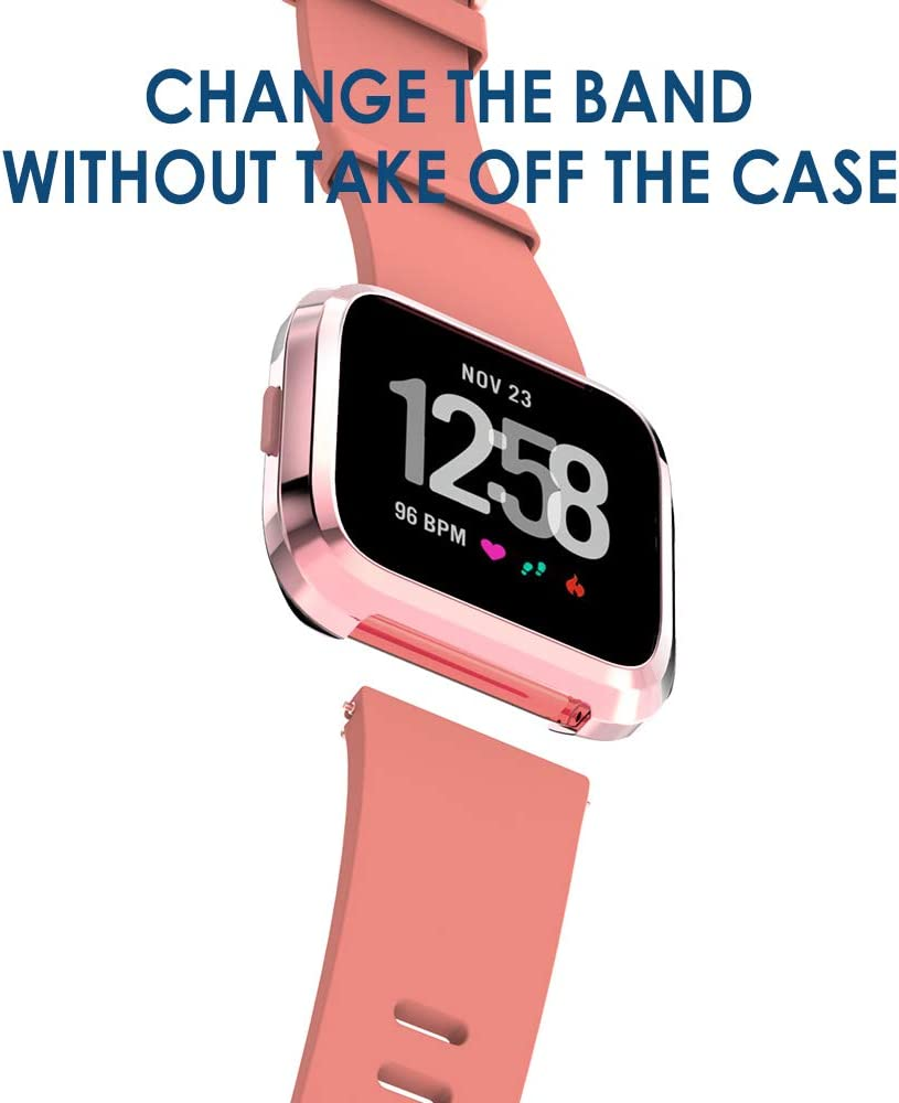 Rose Pink//Clear//Silver//Black//Rose Gold Simpeak Soft Screen Protector Bumper Case Compatible with Fitbit Versa Smartwatch Pack of 5 Full Protection