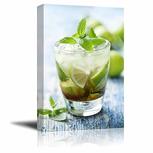 Fresh Mojito on a Rustic Table Beverage Wine Photograph Wall Decor ation