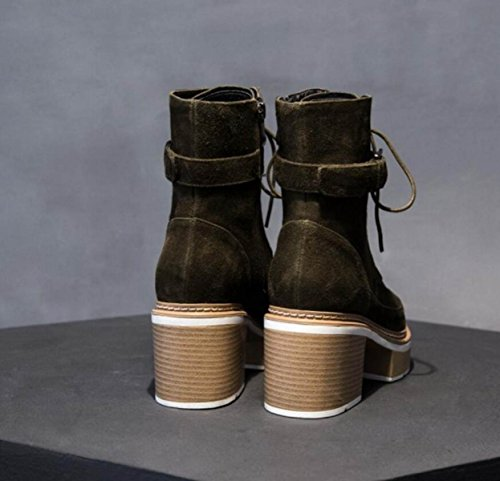 NBWE Women's Leather Martin Boots Waterproof Platform Thick Heel Pointed Boots ArmyGreen u0LI8o1wH