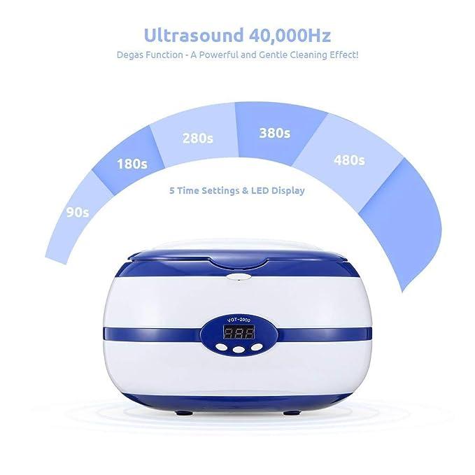 KYLINDRE Limpiador ultrasónico Digital, 600ml 35W dentaduras ...