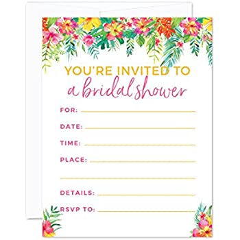 Amazon tropical pineapple bridal shower invitations fill in andaz press tropical floral garden party wedding collection blank bridal shower invitations with envelopes 20 pack filmwisefo