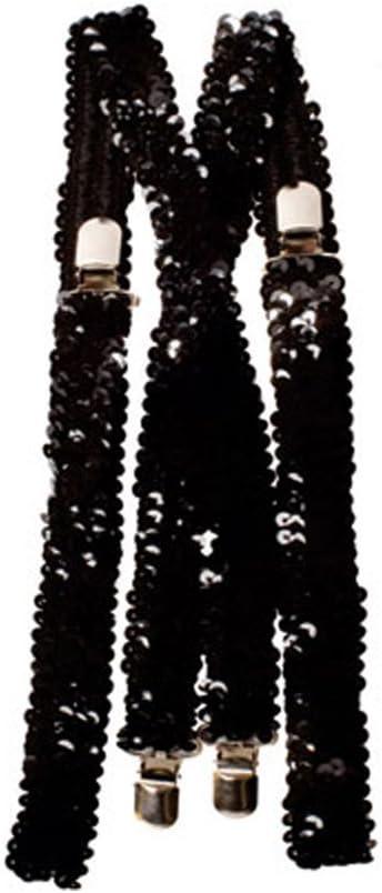 Dress up America Tirantes negros con lentejuelas para hombre