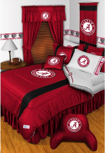 Alabama Crimson Tide NCAA Bedding - Sidelines Comforter and Sheet Set Combo - Full (Bedding Alabama Of Sets University)