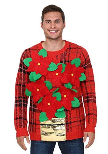 Poinsettia Flower Pot 3D Men's Red Ugly Christmas Sweater - L