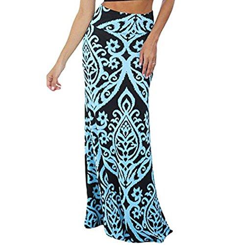 conqueror Femmes Maxi Jupe Dames Vintage imprim Corail Taille Haute Patineuse Jupe Longue Bleu