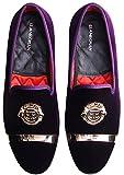 ELANROMAN Men's Velvet Loafers Dress Shoes with