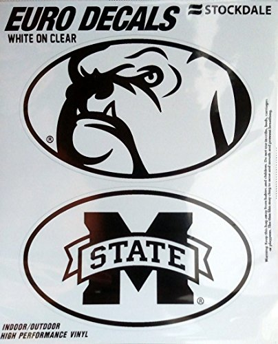 Mississippi State Bulldogs Window (Mississippi State Bulldogs 2-Pack EURO STYLE Vinyl Oval Home Auto Decals Sticker University of)