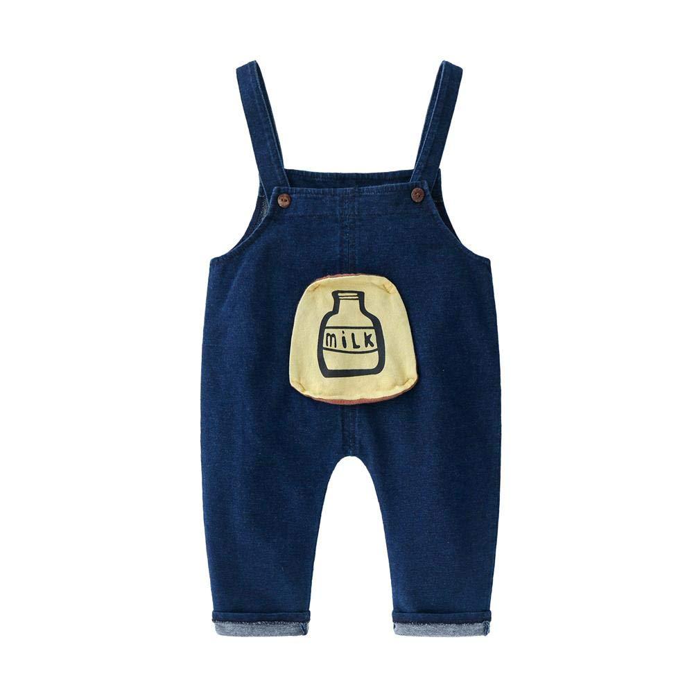 AFFEco Baby Jeans Toddler Casual Cartoon Bottle Denim Suspender Pants (Blue 12-18M)