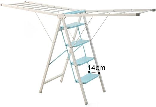 Ronghuafugui Escalera Plegable Secador de Ropa/Aireador de Ropa Doble Uso de la Escalera de ala Colgador de Ropa - Escalera de 4 peldaños/Escalera de 5 escalones/Ahorre Espacio (Color : Four Steps): Amazon.es: