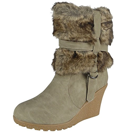 Damen Reißverschluss Hoch Hacke Pelz Futter Keil Knöchel Stiefel Größe 36-41 Grau