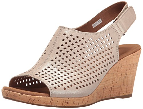 Rockport Women's Briah PERF Sling Wedge Sandal, Metallic Khaki Leather, 7.5 W US
