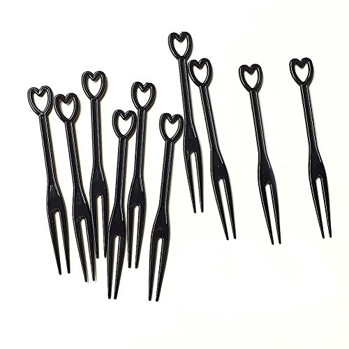 Black Cocktail Fork - 1Bag(approx 450pcs) Plastic Disposable Mini Cocktail Picks Fruit Forks Cocktail Sticks Party Supplies Plates Picks Cake Forks (black)