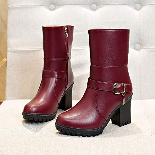 Logobeing Calzado Altas Cómodo De Invierno Cuña Tacon Botas xy110 Zapatos Vino 35 vino Mujer 40 Moda Botines negro Plataforma Martin wzxq0AwrS