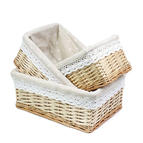 (MEIEM Utility Storage Baskets, Woven Wicker Storage Baskets with Removable Liners (Set of 3,Natural) )