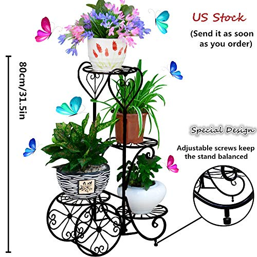 Metal Plant Stand 4 Tier Decorative Planter Holder Flower Pots Stander European-Style Garden Tiered Plant Display Holder for Outdoor Indoor by hebensi