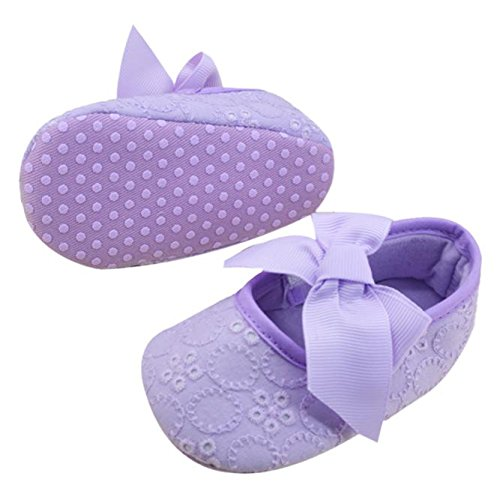 Weiyun Infant Girls Cotton Ribbon Bowknot Soft Bottom Flower Prewalker