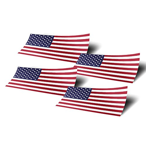 - United States of America USA 4 Pack of 4 Inch Wide Country Flag Stickers Decal for Window Laptop Computer Vinyl Car Bumper American 4